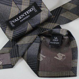 Valentino Tie Grey Black & Gold, Made in Italy EUC
